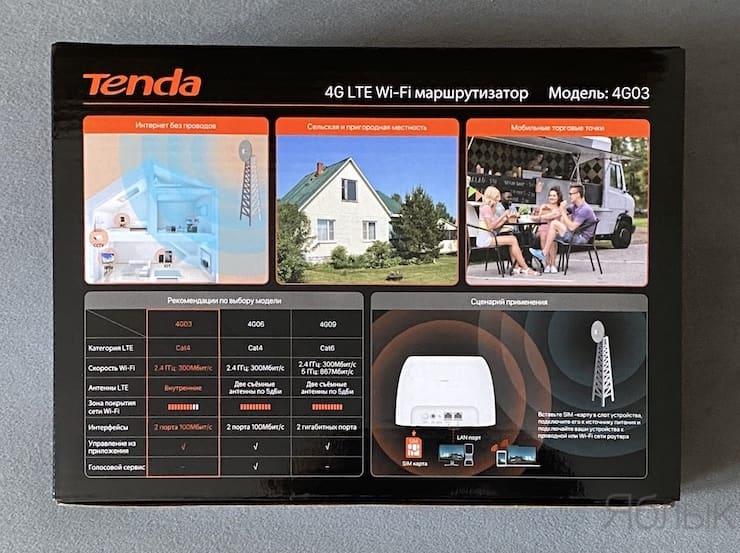 Упаковка и комплект поставки Tenda 4G03