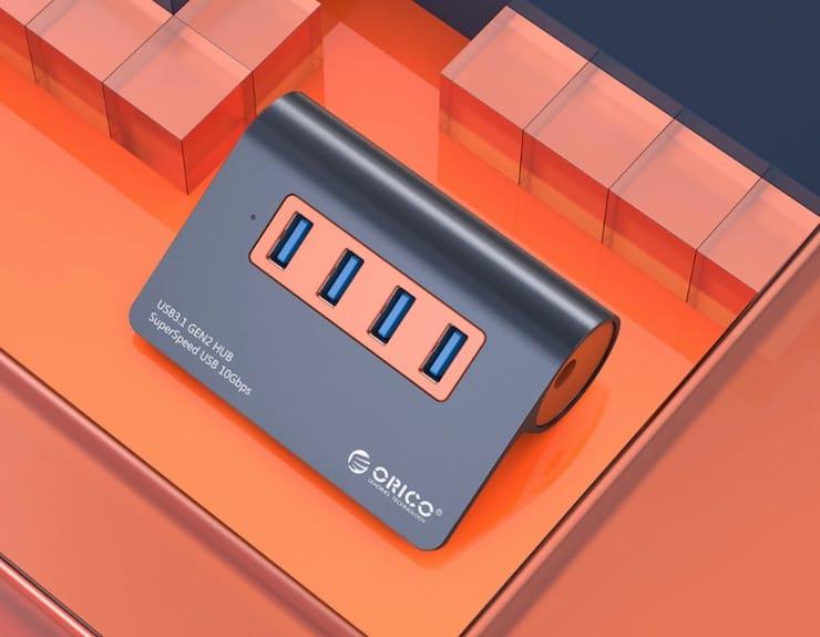 Алюминиевый USB хаб для компьютера с поддержкой USB 3.1