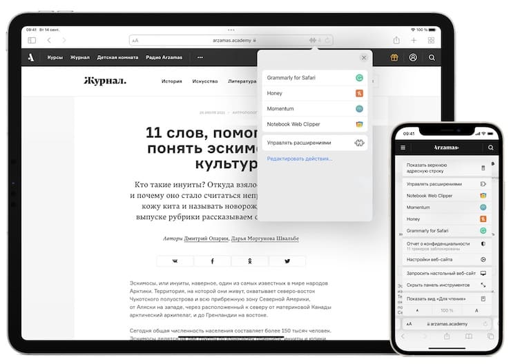 Safari extensions on iPhone and iPad