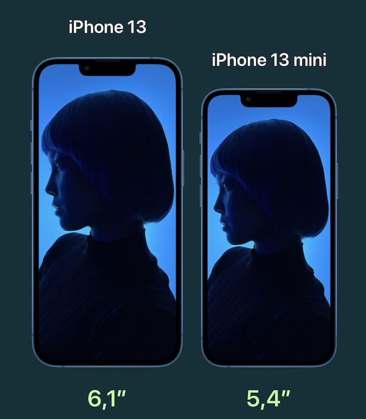 Сравнение размеров iPhone 13 и iPhone 13 mini