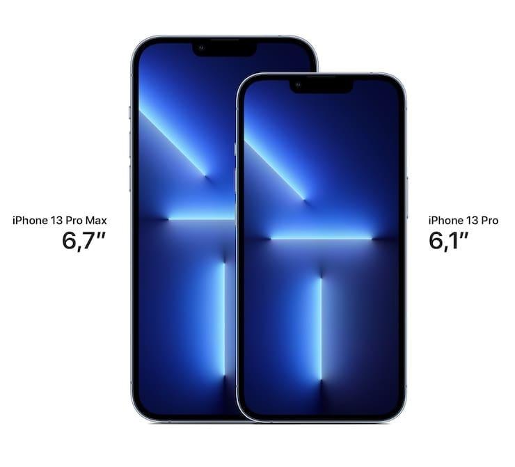 Сравнение размеров iPhone 13 Pro и iPhone 13 Pro Max