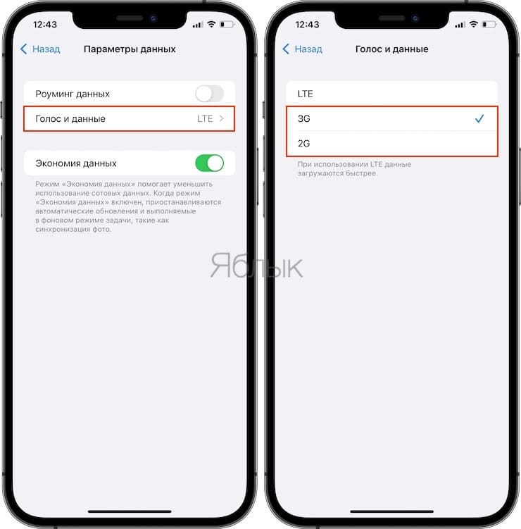 Cellular Data Settings on iPhone