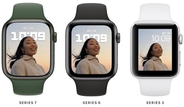 Comparison of display sizes of Apple Watch 7, 6 and 3
